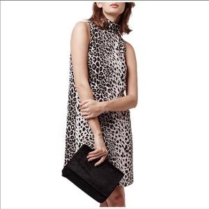 TOPSHOP Leopard Print Funnel Neck Tunic Dress